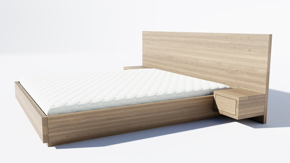 wizualizacja produktowa 3d dębowego łóżka z materacem na białym tle