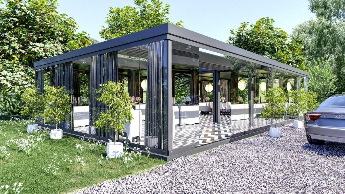 produktowa wizualizacja 3D przedstawiająca szklany ogród zaaranżowany na salę weselną w zielonym otoczeniu