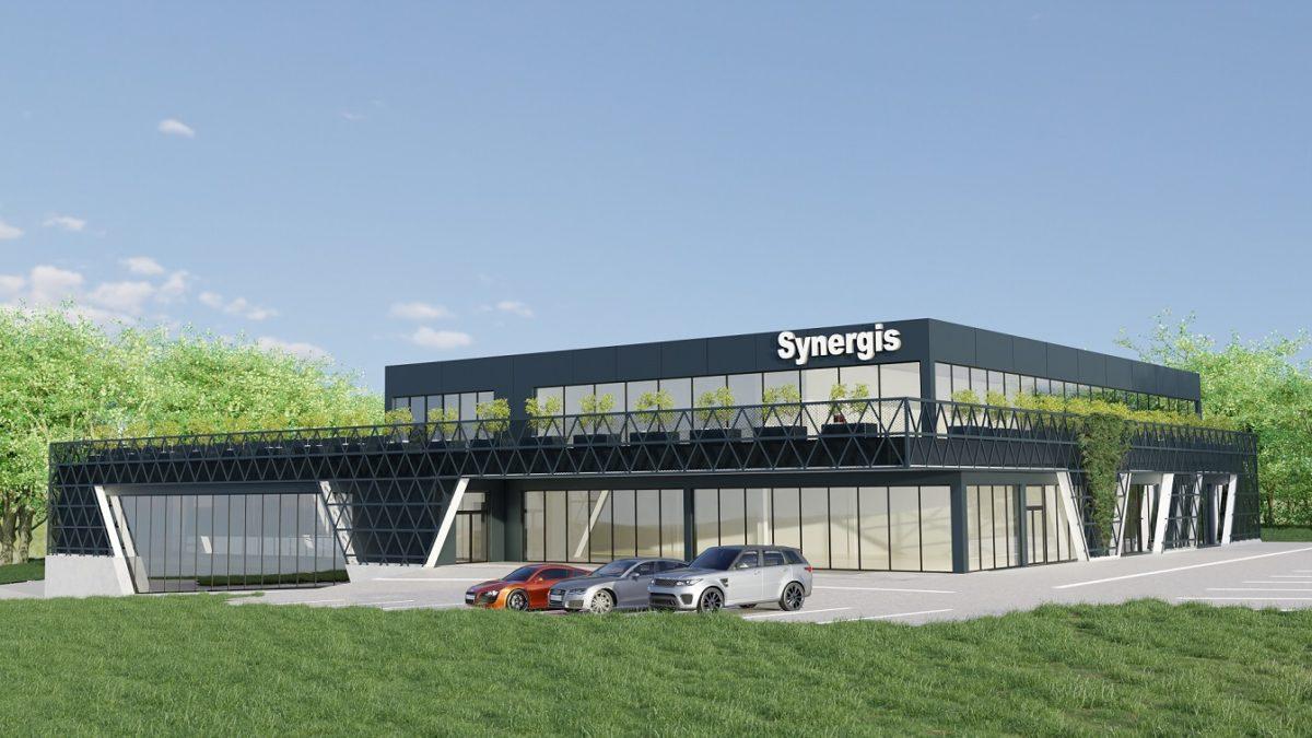 Wizualizacja architektoniczna 3D nowoczesnego budynku handlowego wraz z aranżacją otoczenia i parkinkiem