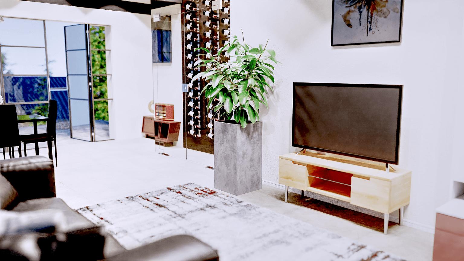 wizualizacja 3D donicy betonowej w aranażacji salonu