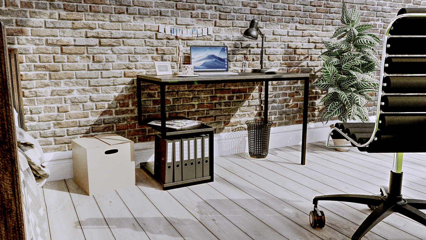 wizualizacja 3D biurka wraz z otoczeniem