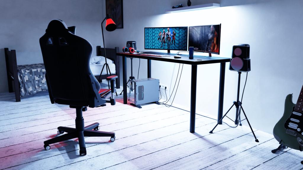 wizualizacja biurka gamingowego w pomieszczeniu