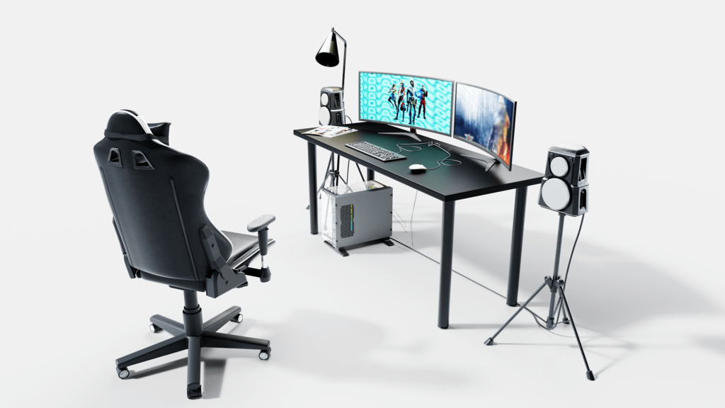 wizualizacja biurka gamingowego wraz z akcesoriami na białym tle