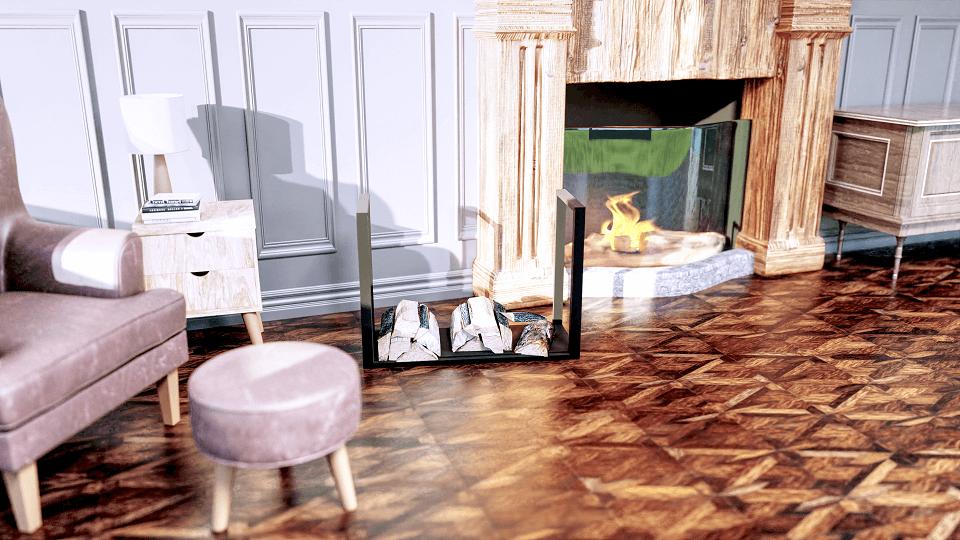 wizualizacja produktowa stojaka na drewno w aranżacji salonu