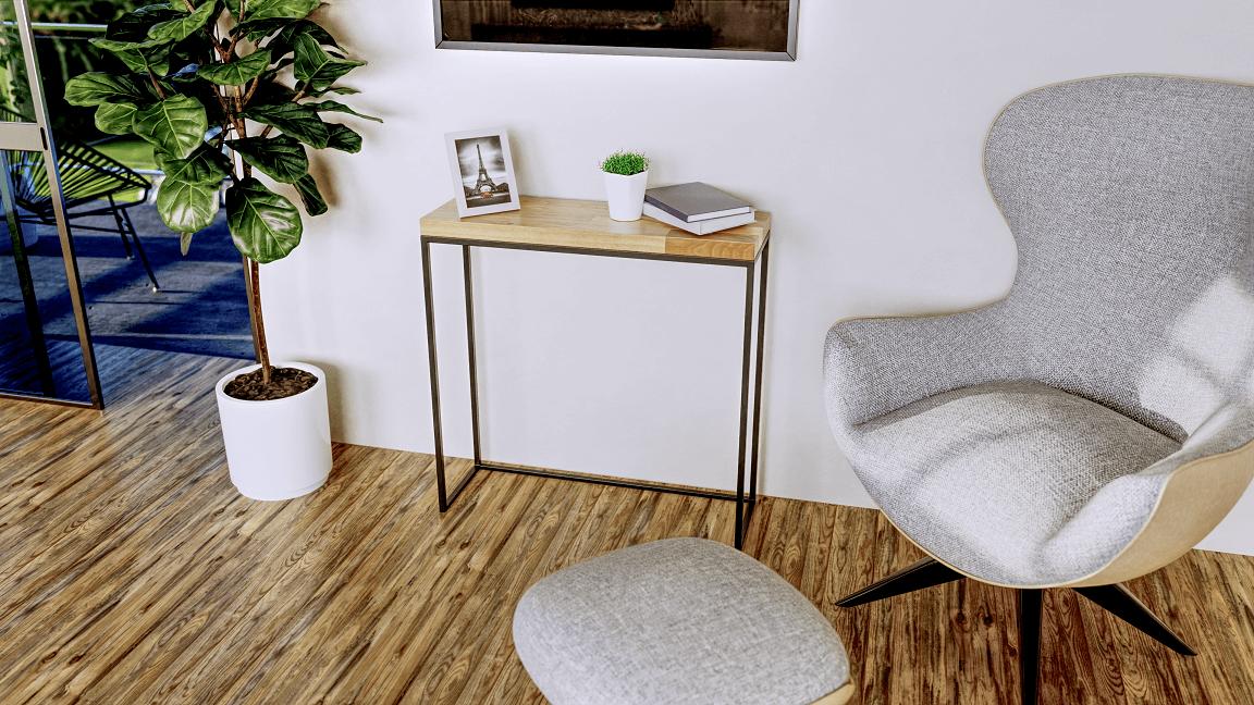 promocyjna wizualizacja stolika w salonie z aranżacją