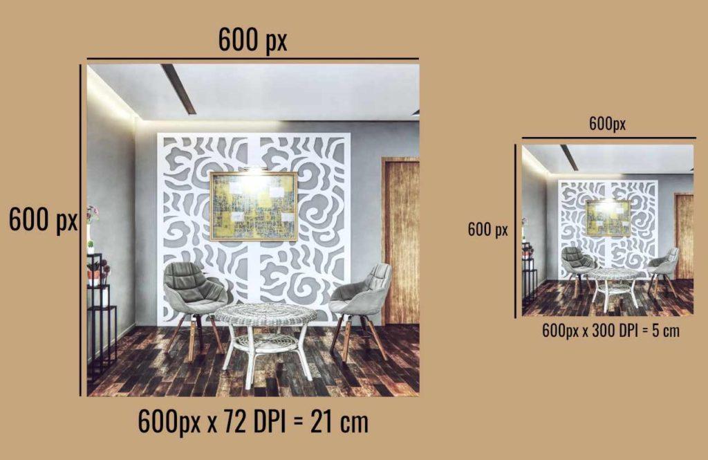 prezentacja wizualizacji paneli w tej samej rozdzielczości, ale innej gęstości pikseli