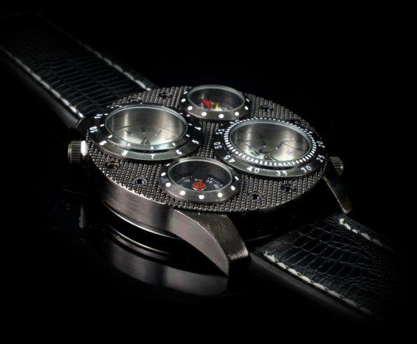 packshot 3d prezentujący męski zegarek na czarnym tle